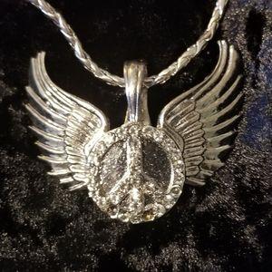 Jewelry - New Silver Peace Sign Diamond w angel wings neckla